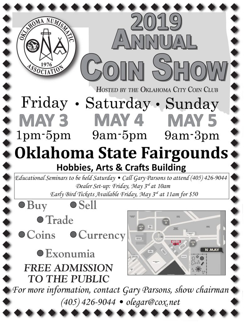 2019 Oklahoma Numismatic Association Spring Coin Show Flyer
